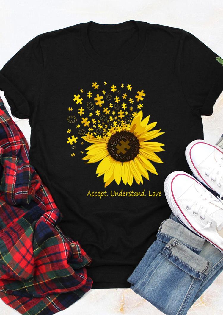 Sunflower Accept Understand Love T-Shirt Tee - Black