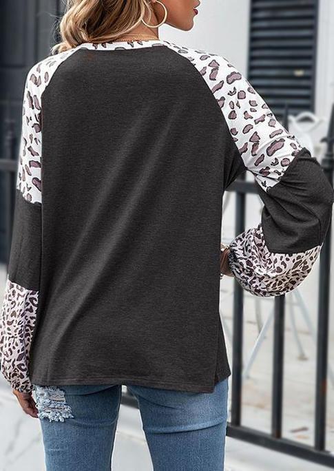 Leopard Splicing Long Sleeve Blouse - Dark Grey