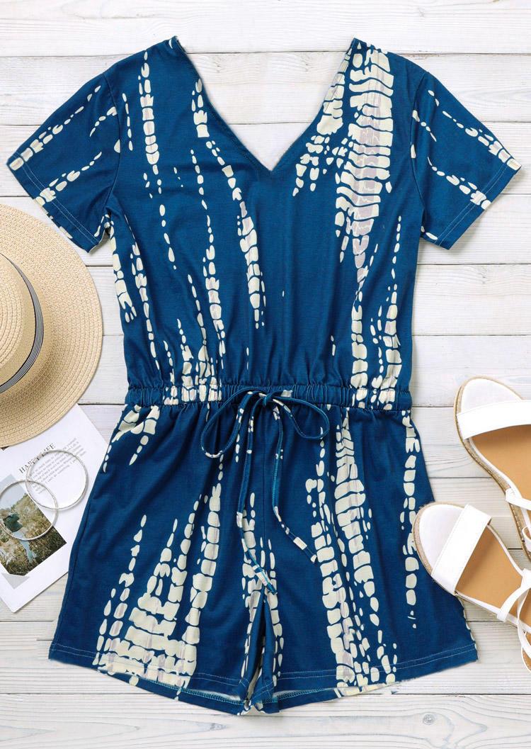Tie Dye Drawstring Elastic Waist V-Neck Romper - Blue