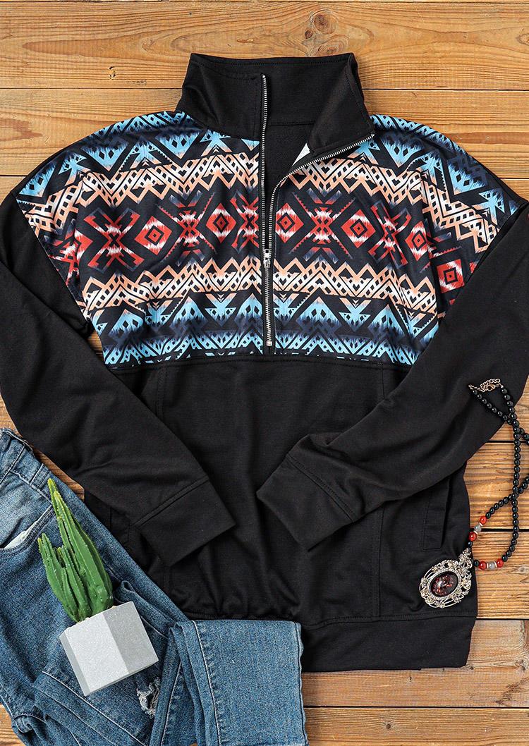 AztecGeometric Zipper Pocket Sweatshirt - Black
