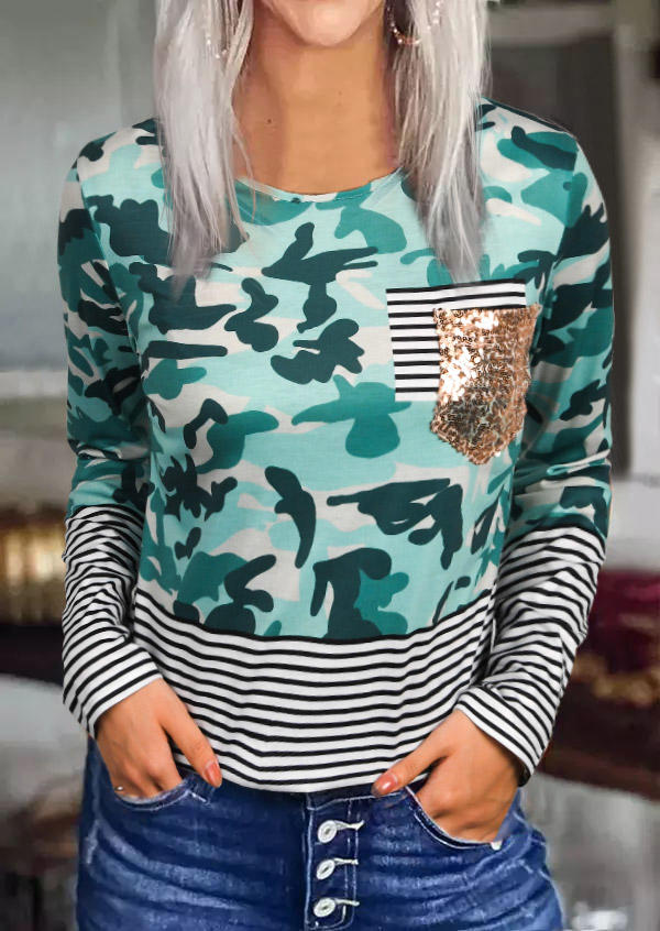 Camouflage Striped Splicing Sequined Blouse
