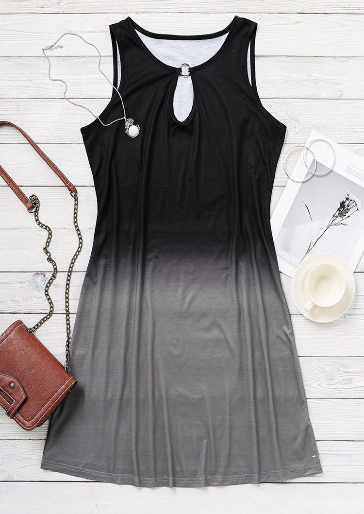 Gradient Keyhole Neck Sleeveless Mini Dress - Black