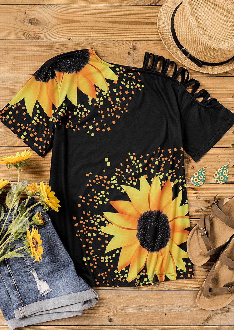 Sunflower Criss-Cross One Sided Cold Shoulder Blouse