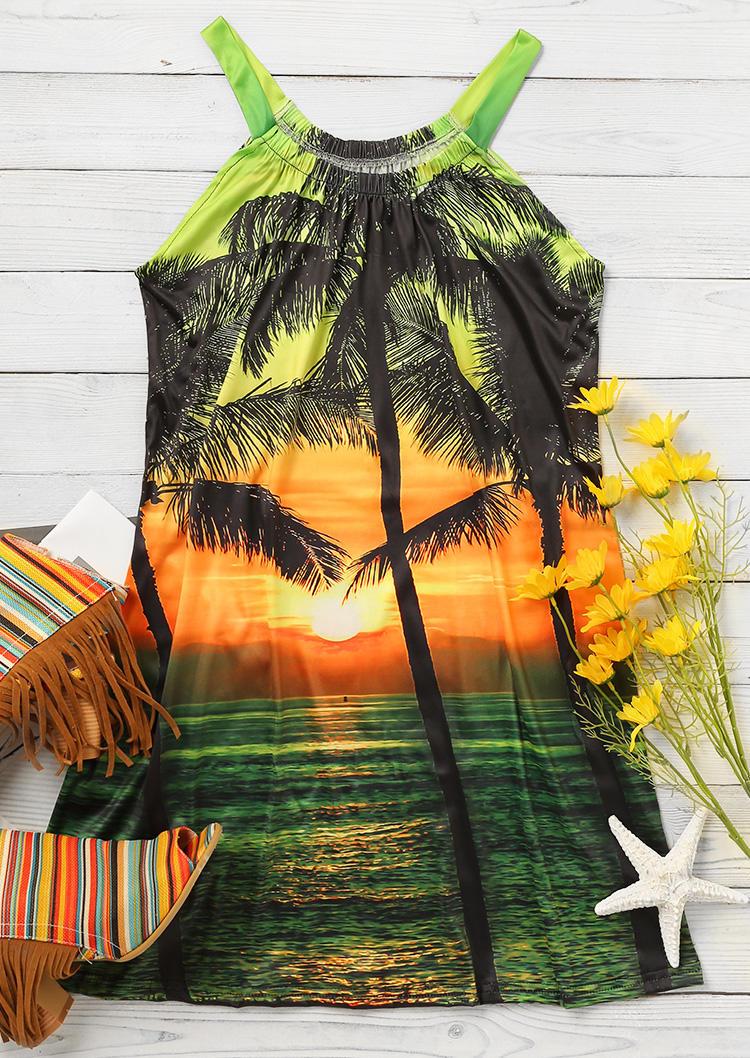 Palm Tree Lake Sunshine Spaghetti Strap Mini Dress