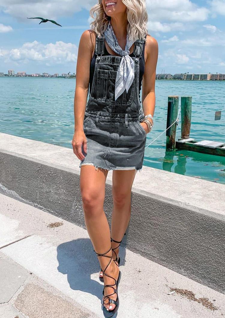 Frayed Hem Pocket Denim Overall Mini Dress - Dark Grey