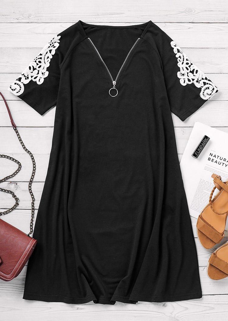 Lace Zipper V-Neck Mini Dress - Black