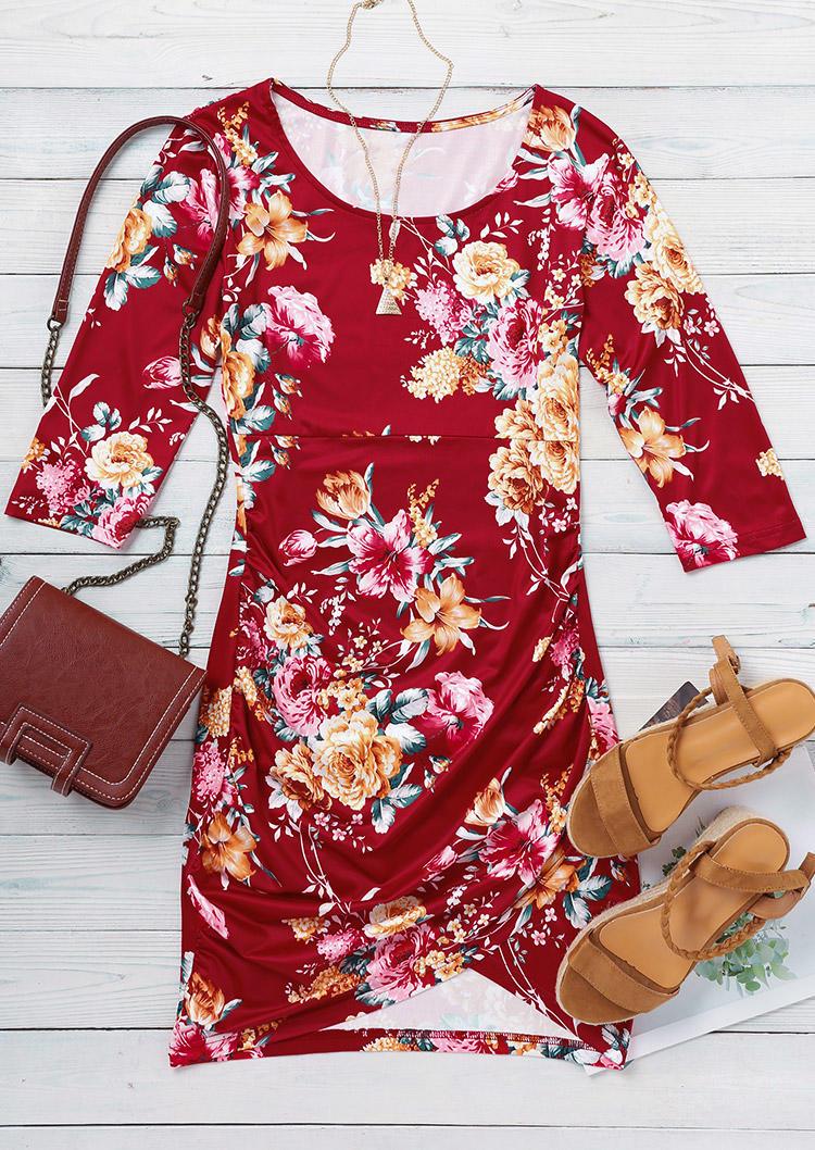 Floral O-Neck Asymmetric Bodycon Dress - Red