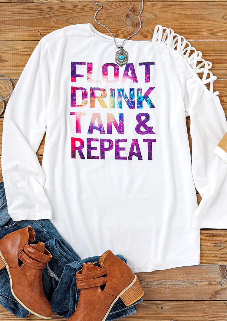 Float Drink Tan & Repeat One Sided Cold Shoulder Blouse - White