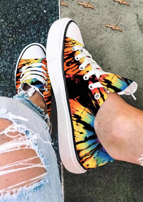 Reverse Tie Dye Rainbow Lace Up Flat Sneakers