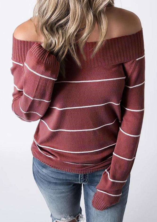 Striped Off Shoulder LongSleeve Sweater