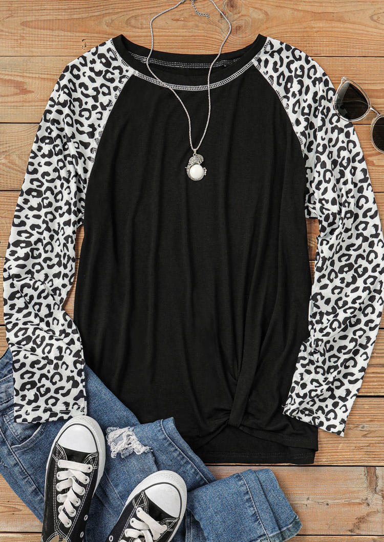 Leopard Long Sleeve O-Neck Blouse - Black