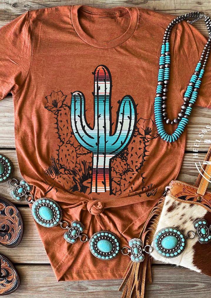 Serape Striped Cactus O-Neck T-Shirt Tee - Orange