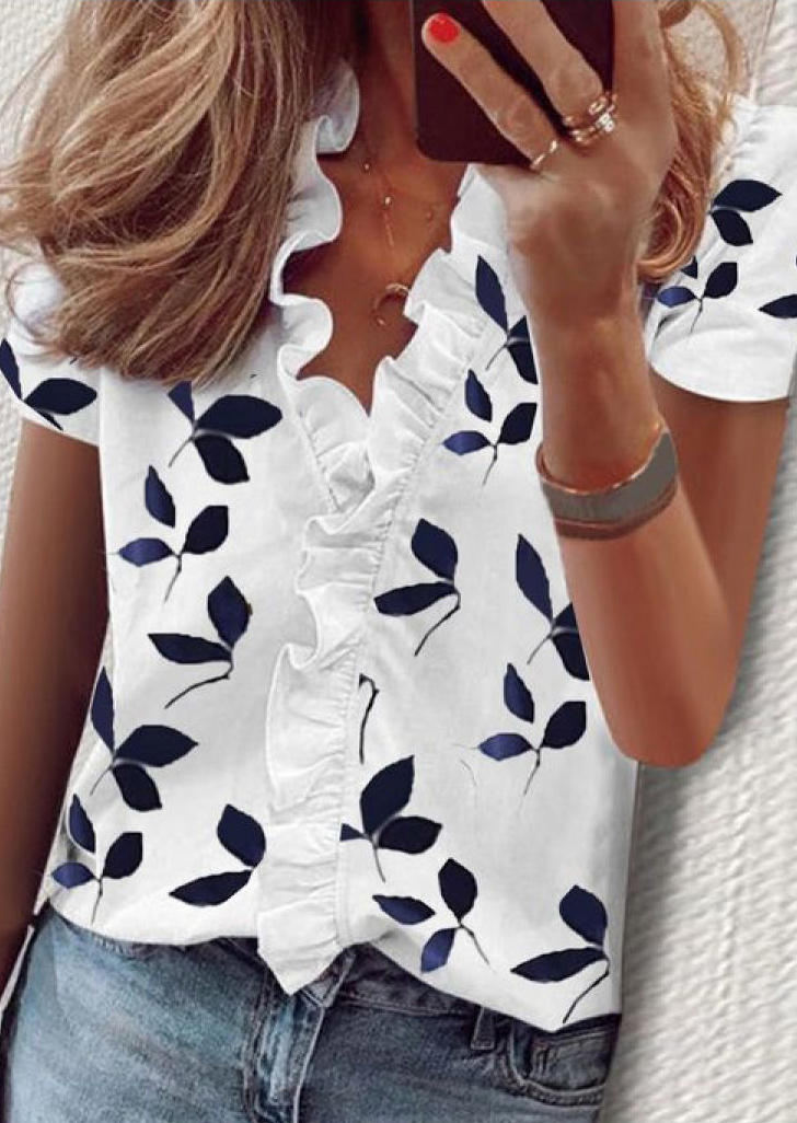 Floral Ruffled V-Neck Short Sleeve Blouse