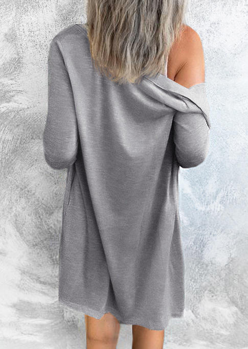 Button Long Sleeve Cardigan - Gray