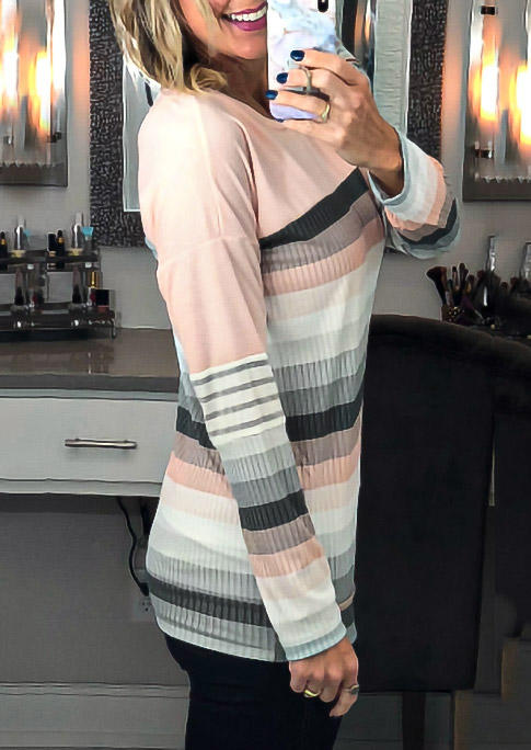 Colorful Striped Splicing LongSleeve Blouse