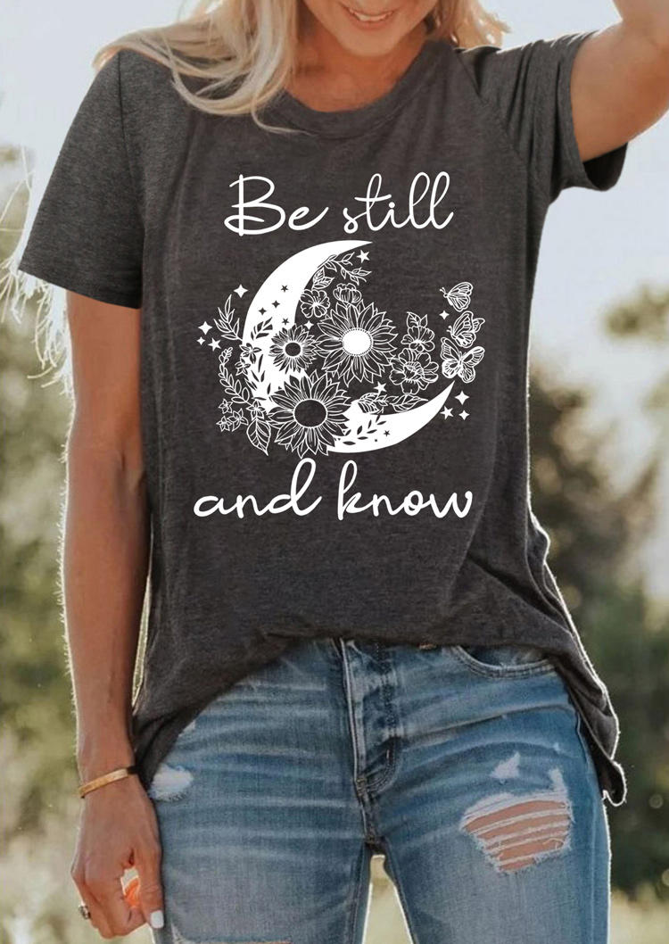 Be Still And Know Moon Daisy Butterfly T-ShirtTee - Dark Grey
