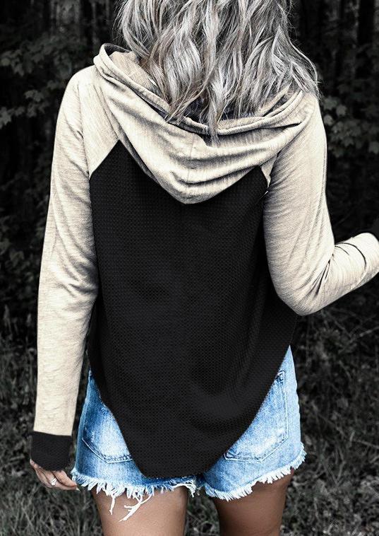 Color Block Long Sleeve Hoodie - Black