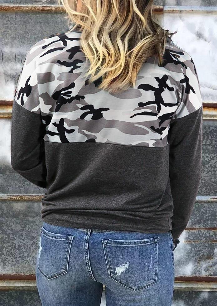 Camouflage Zipper Turn-down Collar Sweatshirt - Dark Grey