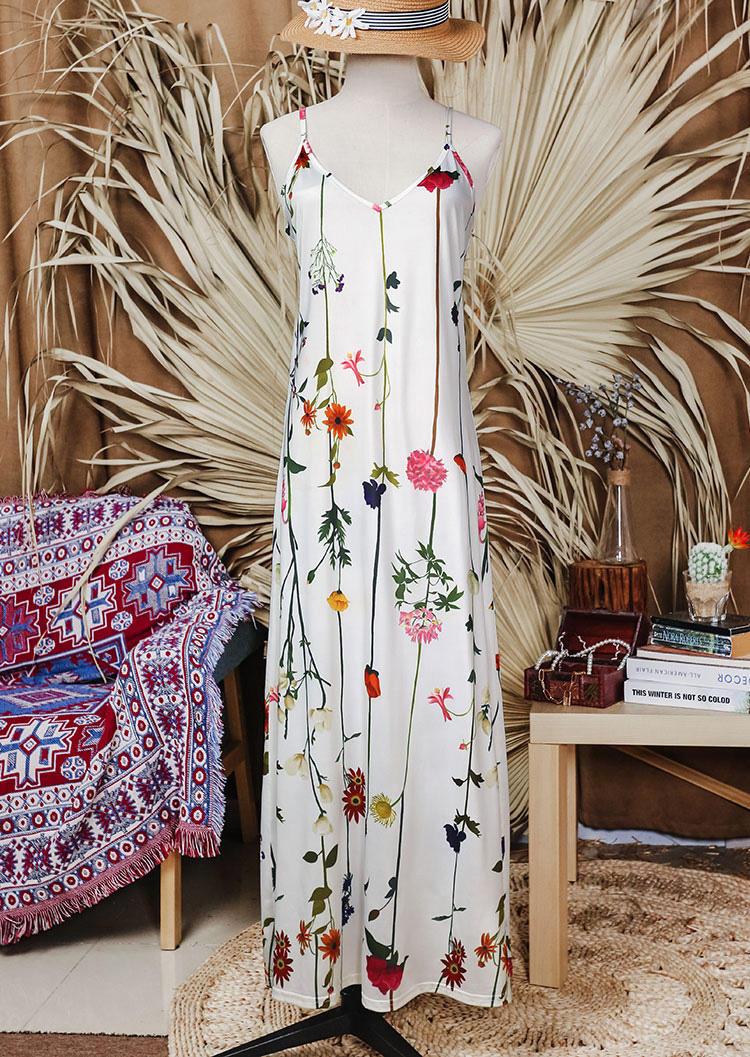 Floral V-Neck Spaghetti Strap Big Hem Maxi Dress - White