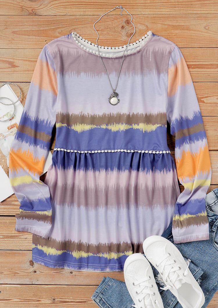 Pom Pom Trim Colorful Gradient LongSleeve Blouse