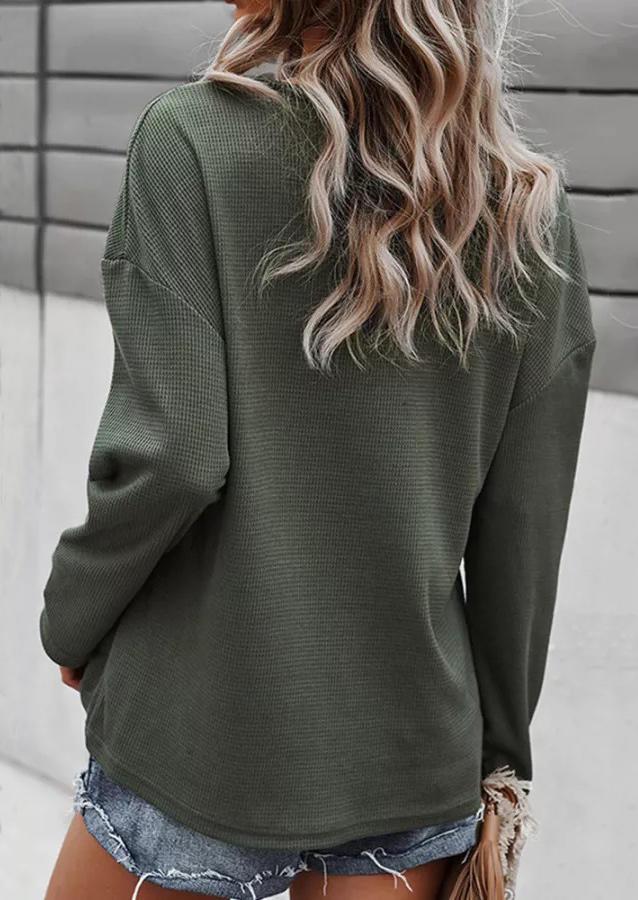 Eyelet V-Neck Pocket Long Sleeve Blouse - Army Green