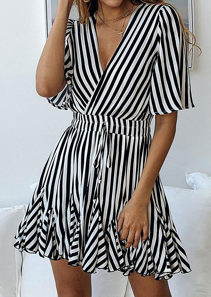 Striped Tie Ruffled V-Neck Mini Dress