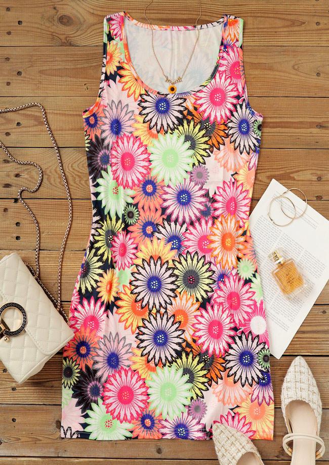 Colorful Daisy O-Neck Sleeveless Bodycon Dress
