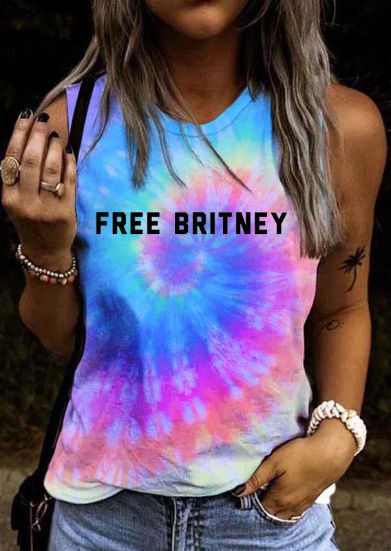 Tie Dye Swirl Free Britney Graphic Sleeveless Tank