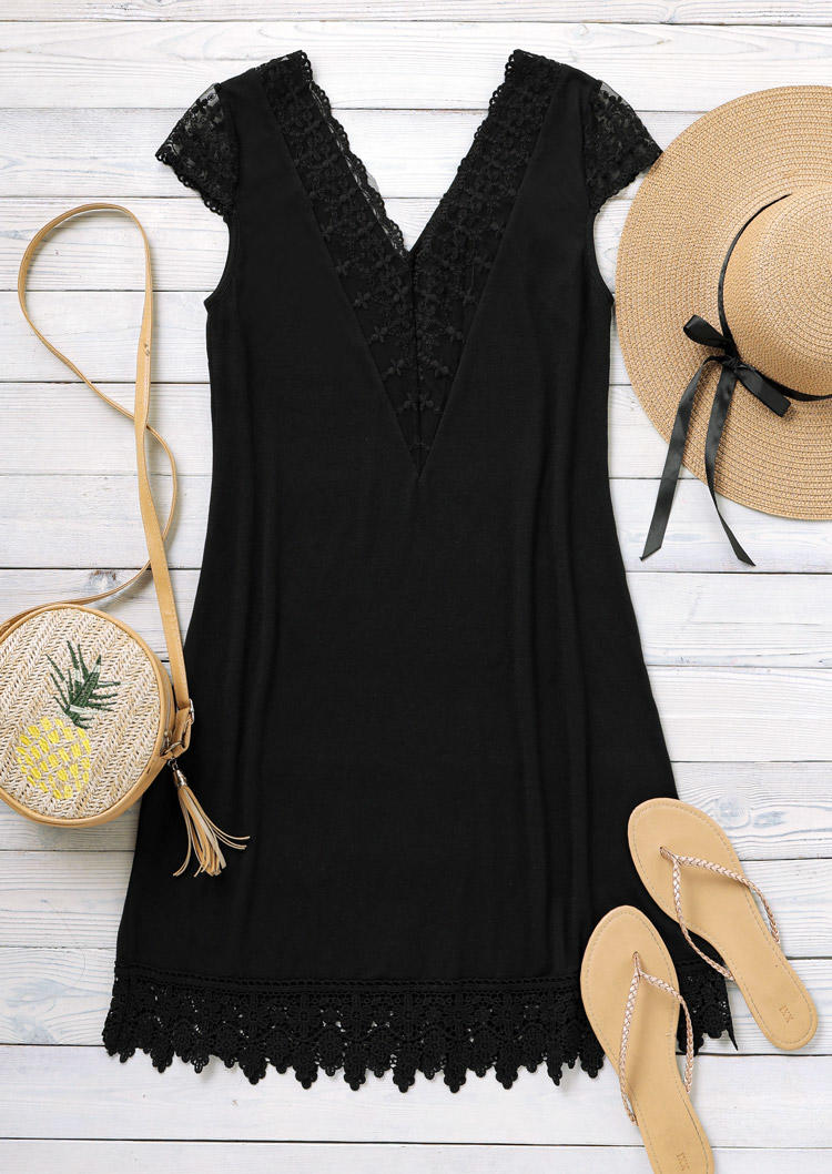 Lace Splicing Open Back V-Neck Mini Dress - Black
