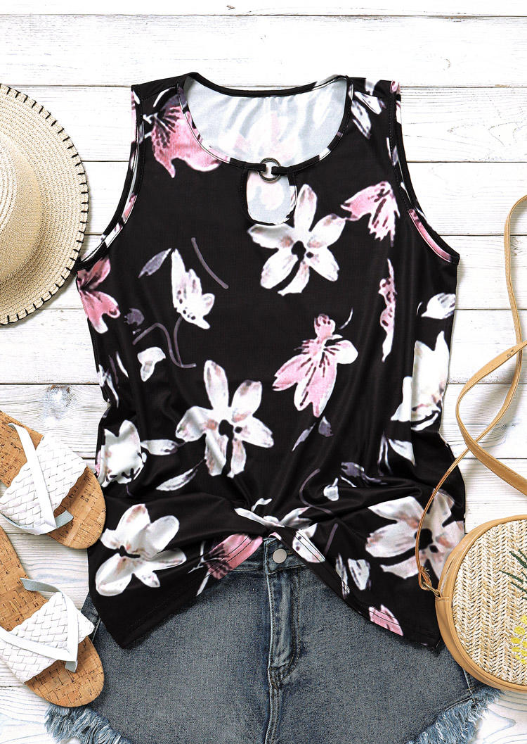 Floral Hollow Out Keyhole Neck Sleeveless Tank - Black