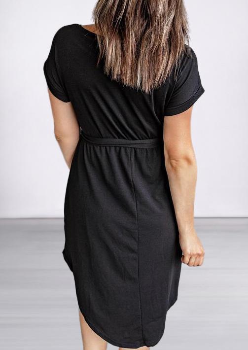 Button O-Neck Casual Dress - Black