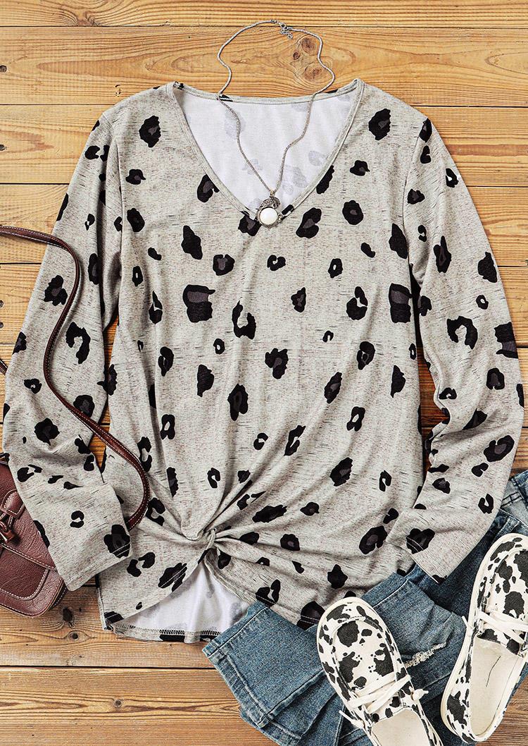 Leopard Twist Long Sleeve Blouse - Gray