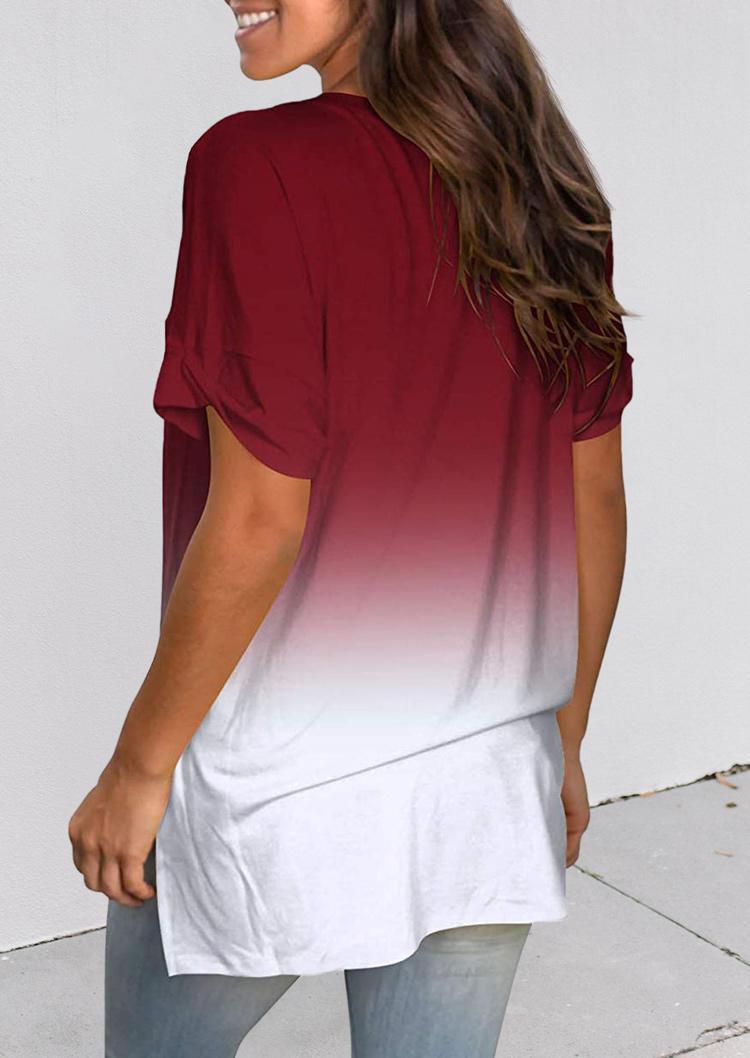 Gradient Slit V-Neck Short Sleeve Blouse - Burgundy