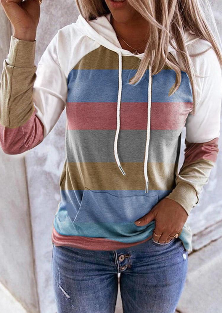 Striped Color Block Drawstring Kangaroo Pocket Hoodie