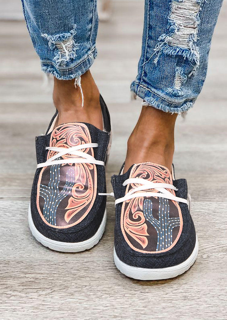 Cactus Polka Dot Foral Buckstitch Sneakers - Navy Blue