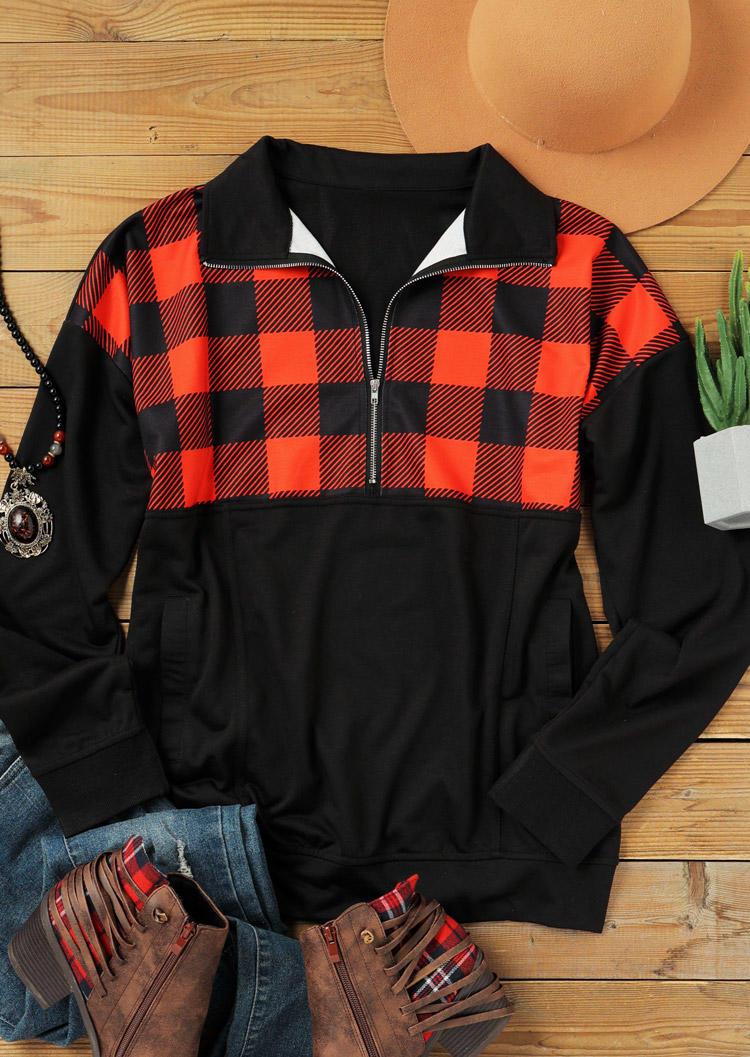 Plaid Zipper Pocket Turn-down Collar Sweatshirt - Black