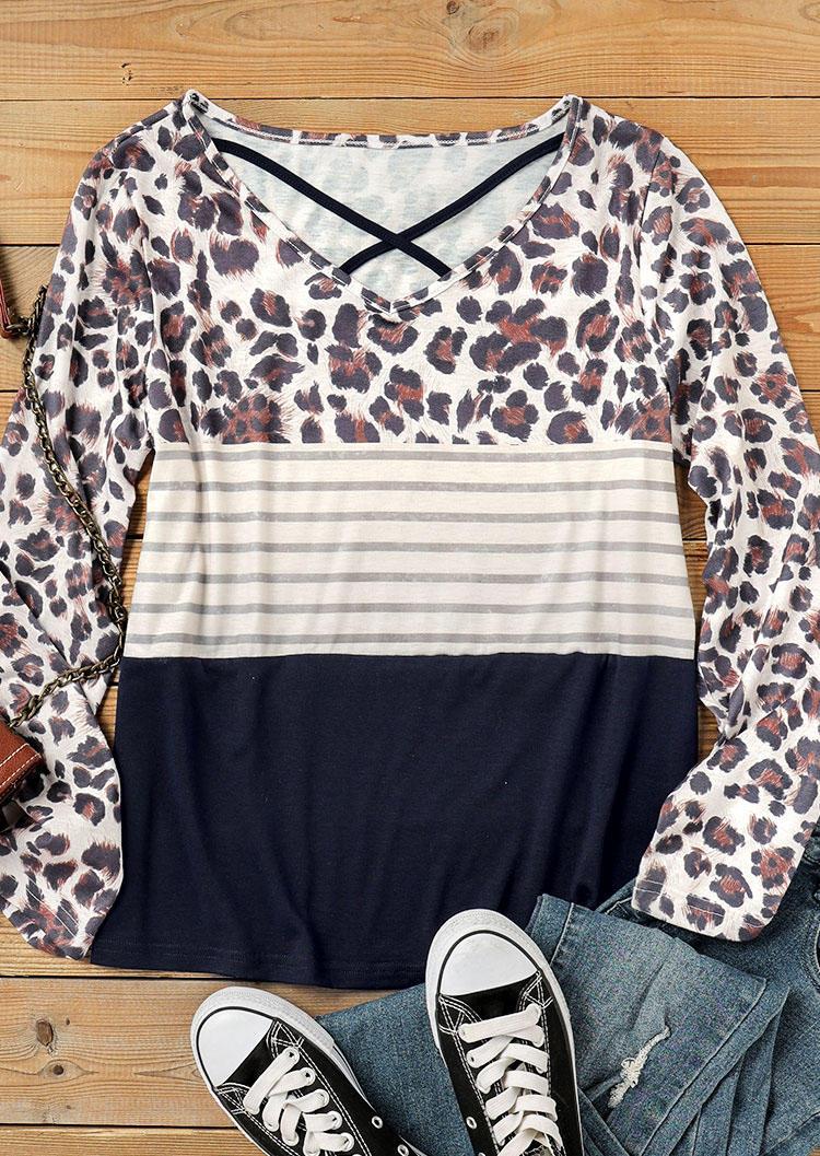 Leopard Striped Splicing Criss-Cross Blouse