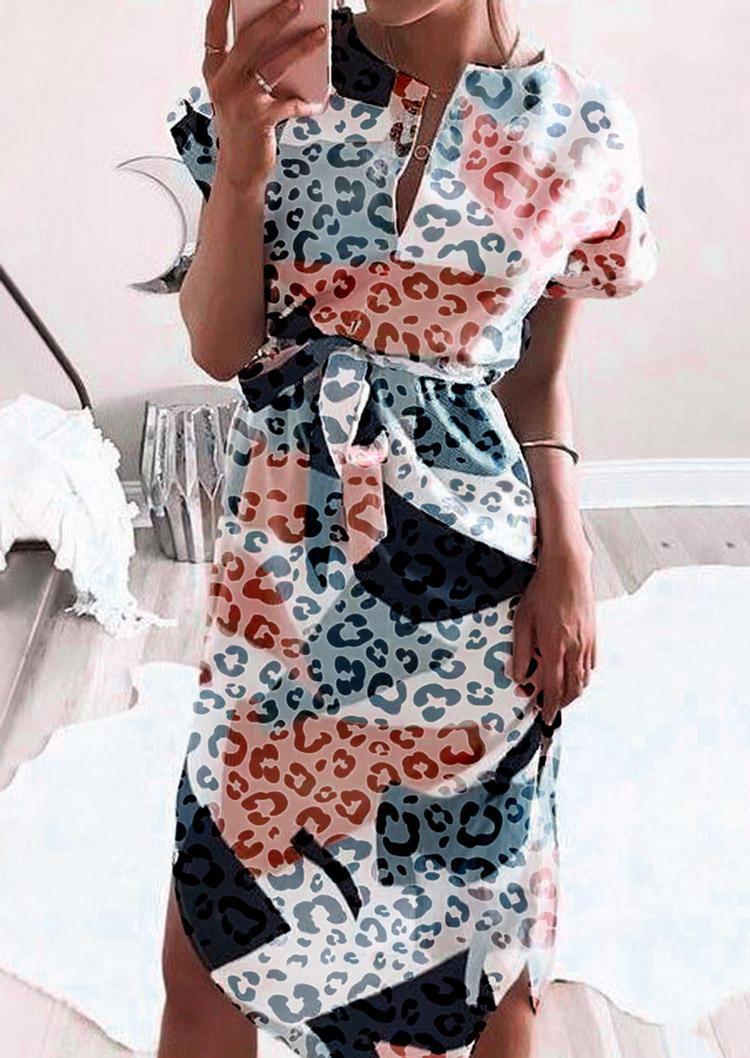 Leopard Geometric Short Sleeve Midi Dress