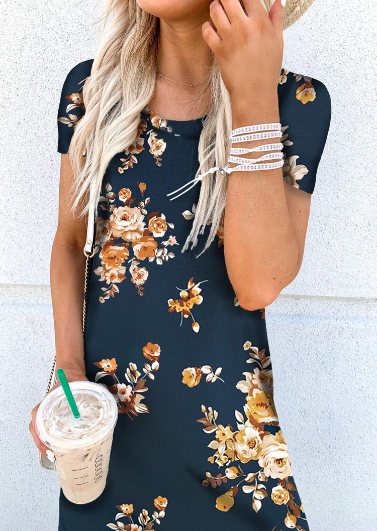 Floral Pocket Slit Short Sleeve Maxi Dress