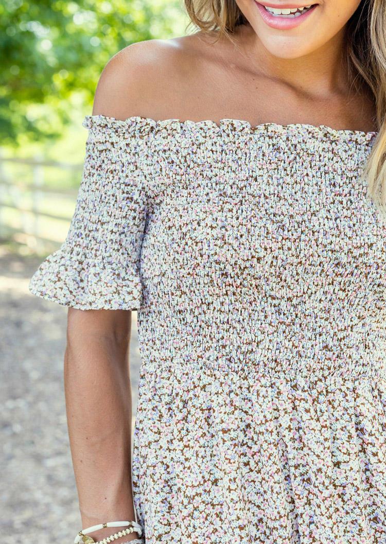 Floral Ruffled OffShoulder Midi Dress