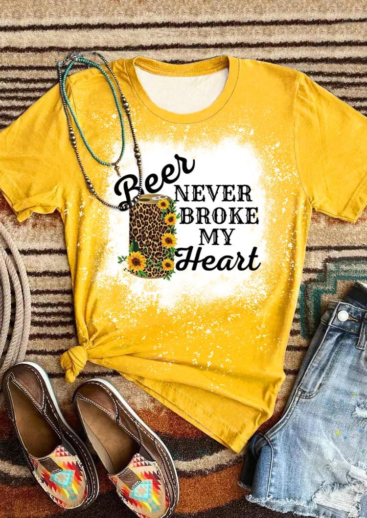 Leopard Sunflower Beer Never Broke My Heart T-Shirt Tee - Yellow