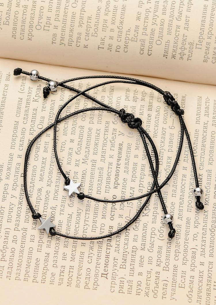 2Pcs Star Heart Beading Adjustable Rope Card Bracelet
