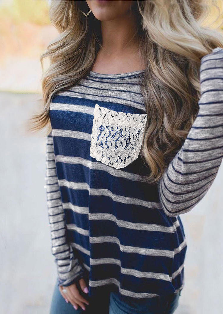 Striped Lace Splicing Pocket Long Sleeve Blouse