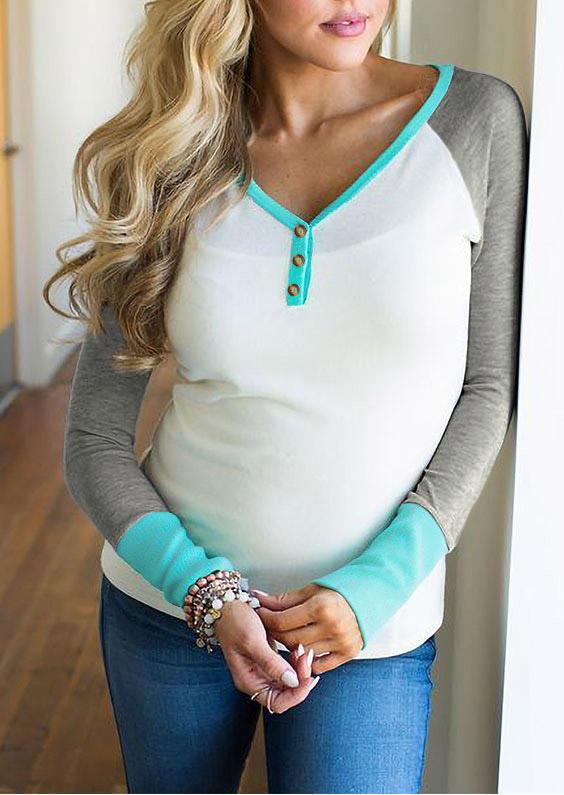 Color Block Button Long Sleeve Blouse