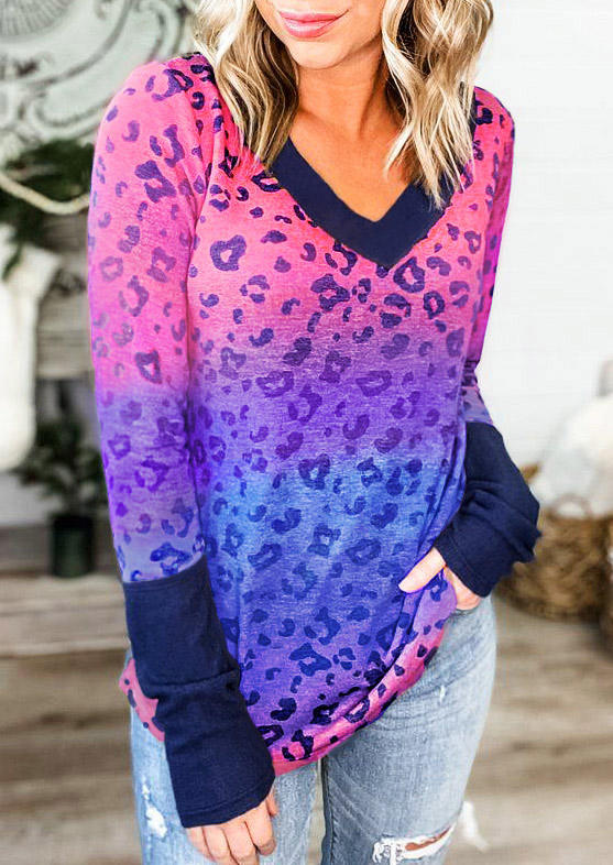 Colorful Leopard Gradient V-Neck Blouse