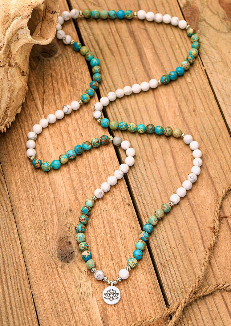 Turquoise Beading Lotus Mala Bracelet
