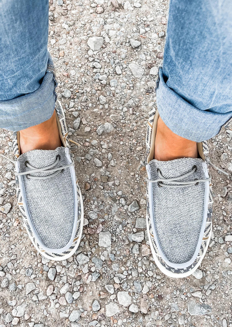 Aztec Geometric Western Slip On Flat Sneahers - Gray