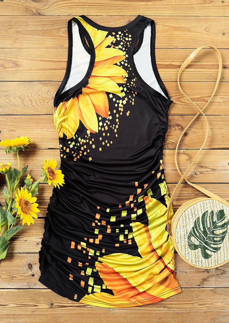 Sunflower Sleeveless O-Neck Bodycon Dress - Black