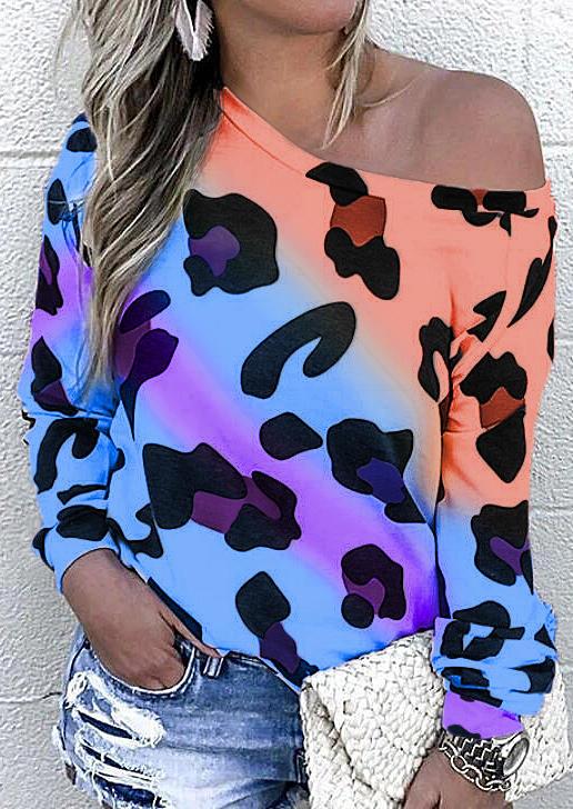 Colorful Leopard Color Block Long Sleeve Blouse