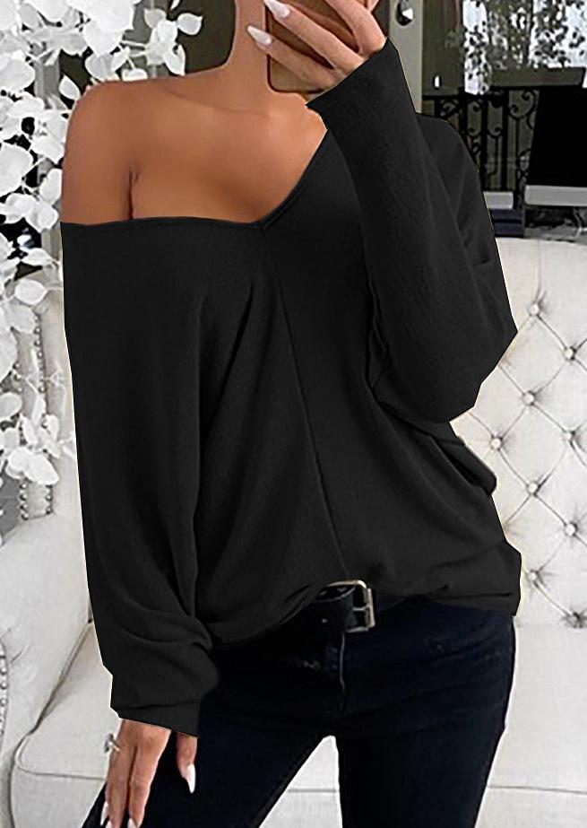 Long Sleeve V-Neck Blouse - Black